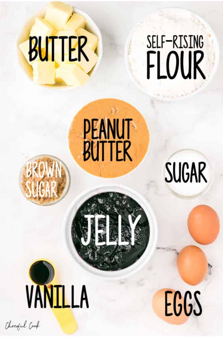 Ingredients needed to make Peanut Butter and Jelly Bars: butter, self-rising flour, peanut butter, white sugar, brown sugar, (grape) jelly, vanilla extract, eggs