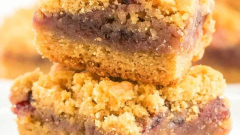 closeup of stacked Peanut Butter and Jelly Bars