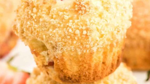 a closeup of a stack of strawberry muffins