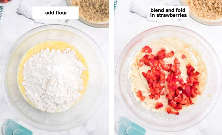 add flour and fold in strawberries