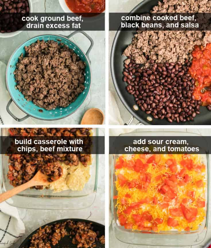 Steps showing how to make Taco Casserole