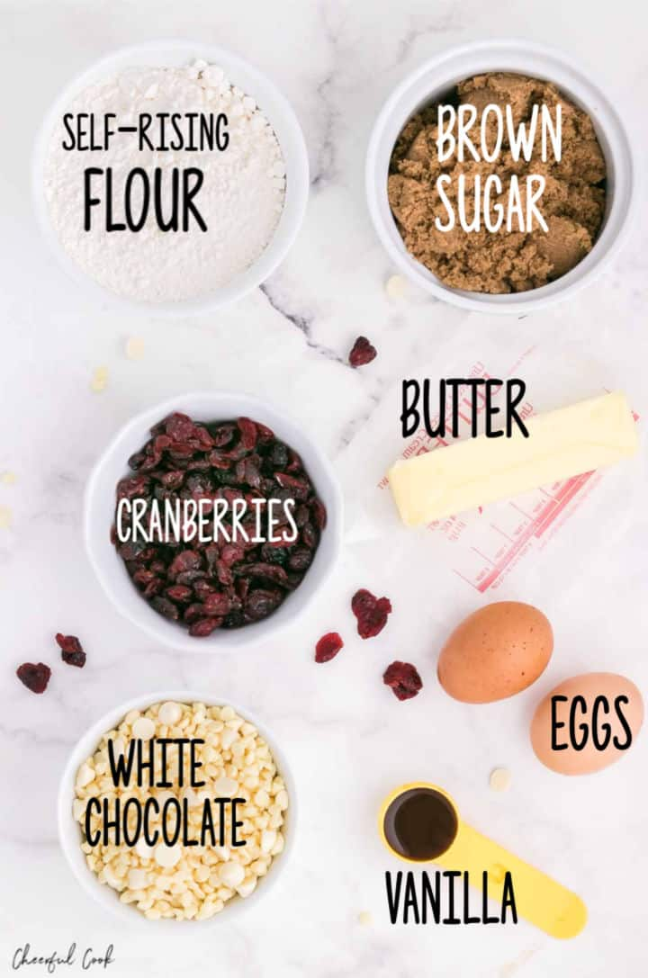Ingredients need to make White Chocolate and Cranberry Brownies