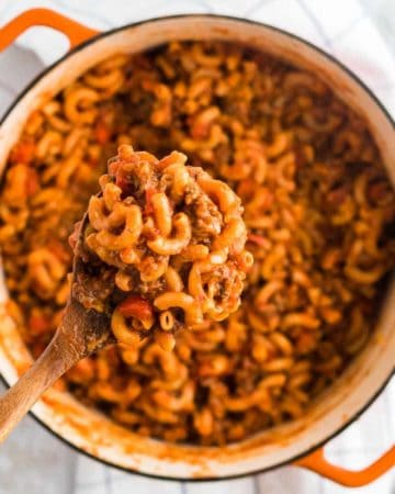 a spoonful of ground beef goulash