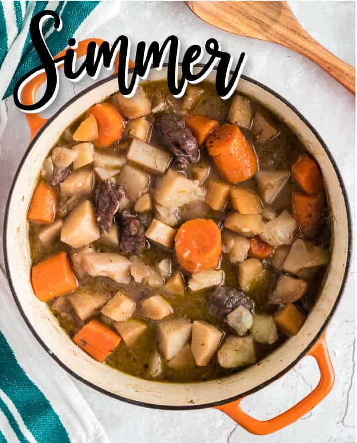 Simmer the vegetables until soft
