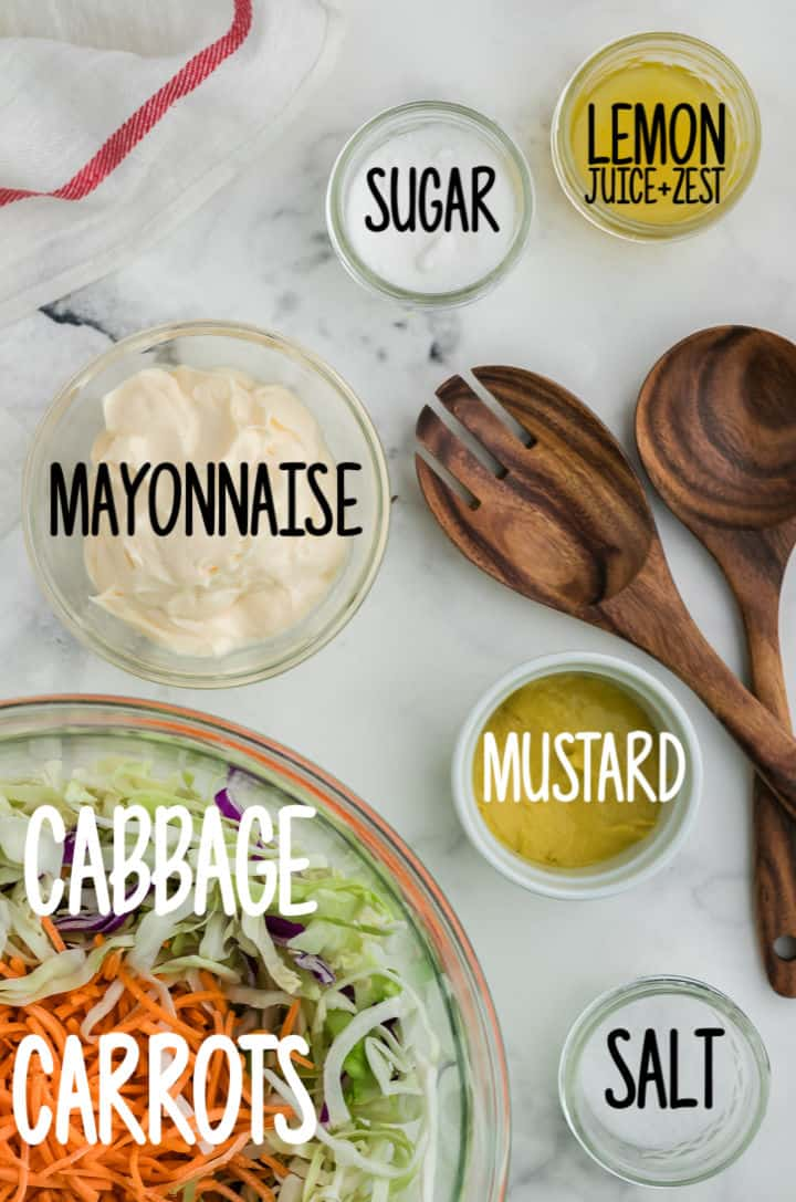 Ingredients needed to make this creamy, refreshing coleslaw