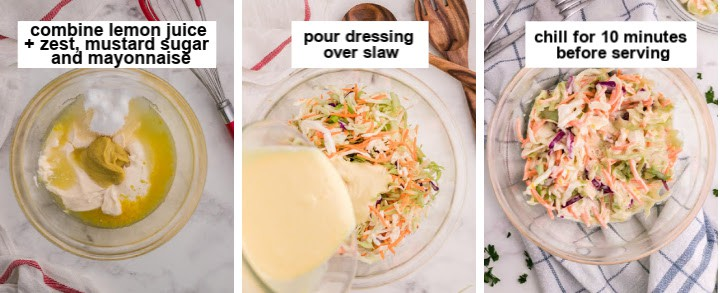 more steps showing how to make coleslaw
