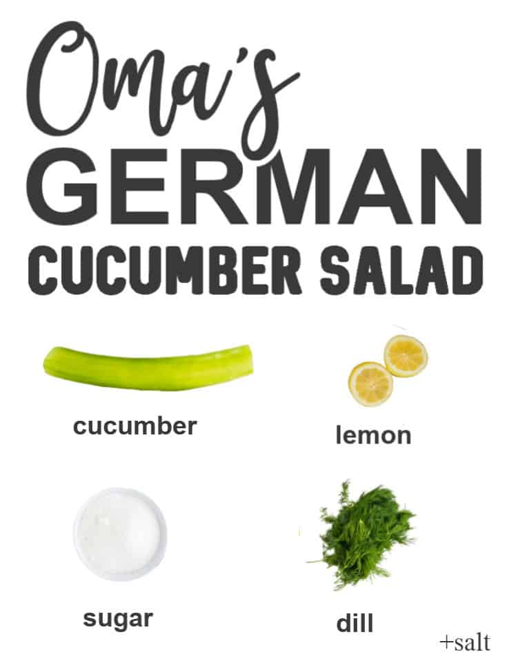 Ingredients needed to make Oma's German Cucumber Salad