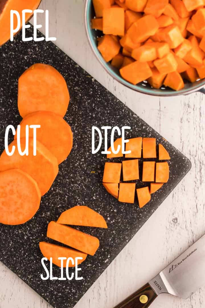 Instructions how to peel, cut, slice, and dice a sweet potato.