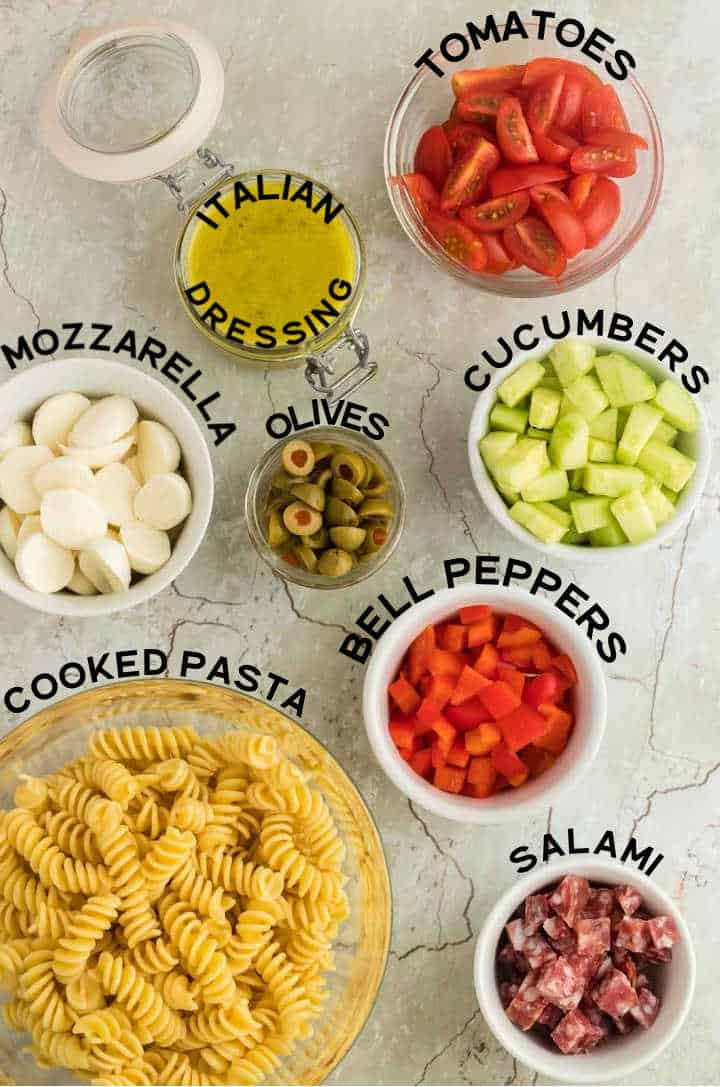 Ingredients needed to make Italian Pasta Salad