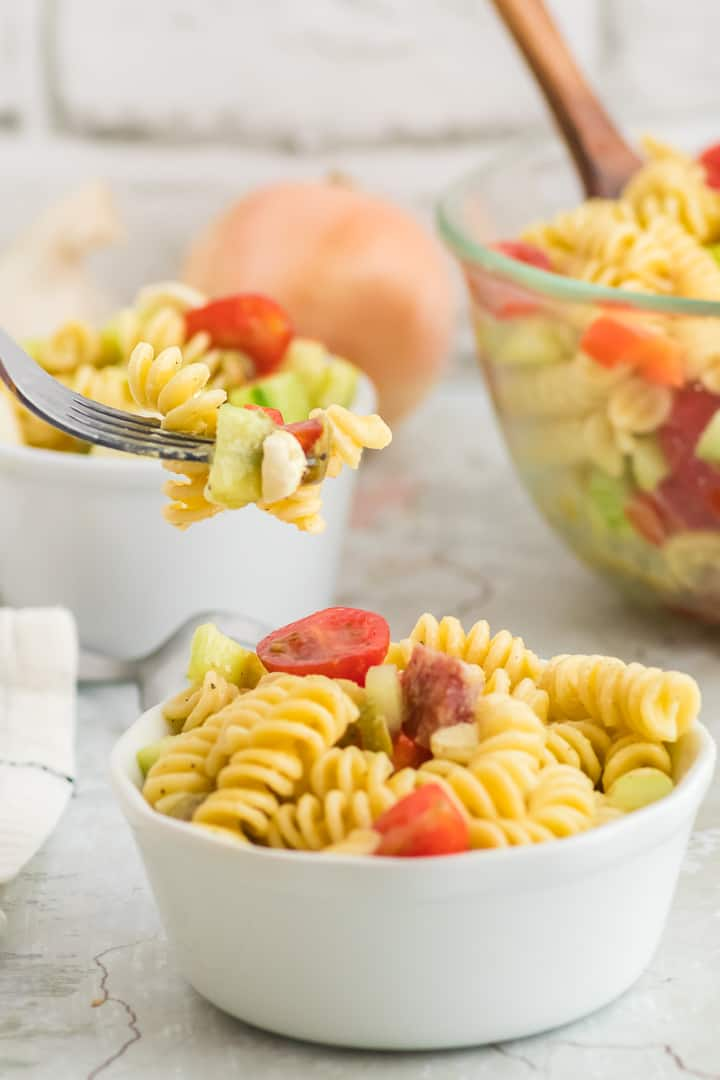 a forkful of freshly made Italian pasta salad