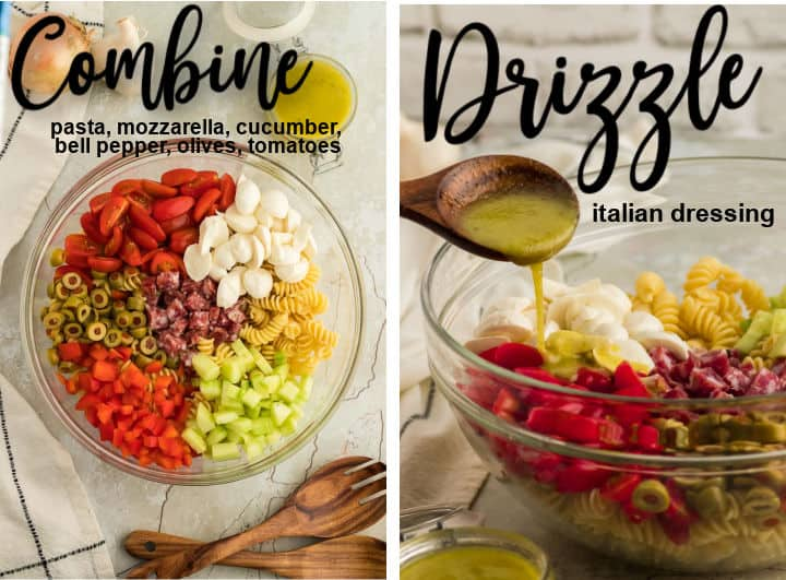 steps showing how to make Italian Pasta Salad