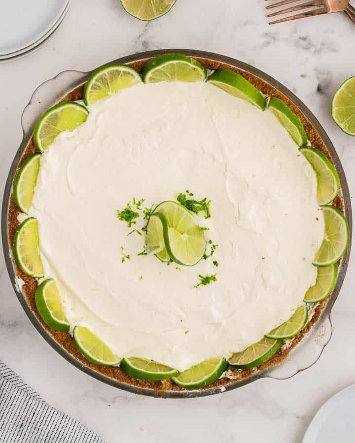 Perfect Key Lime Pie in a glass dish