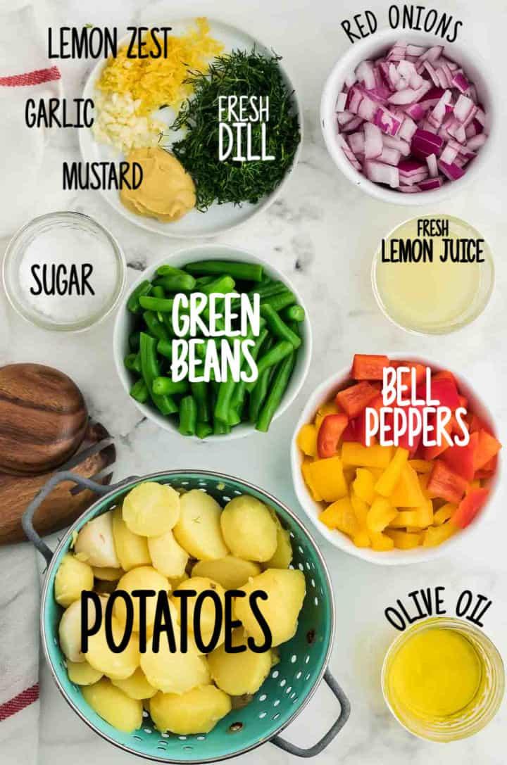 Ingredients needed to make Potato Bean Salad