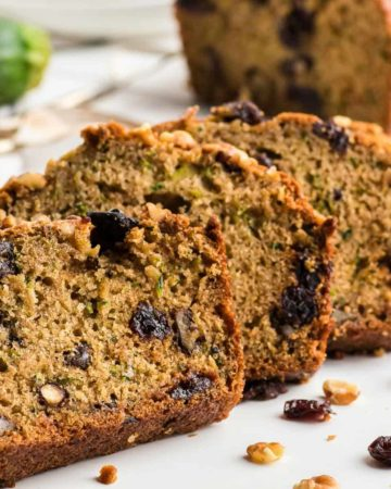 freshly baked zucchini bread cut into thick slices