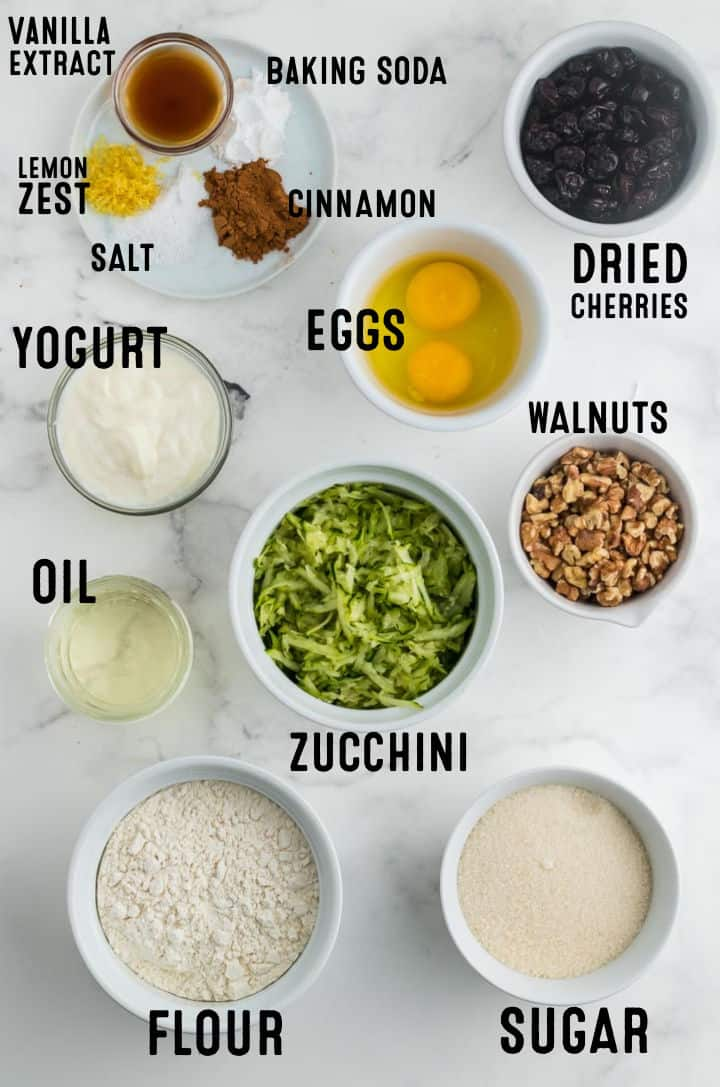 Ingredients needed to make Zucchini Bread