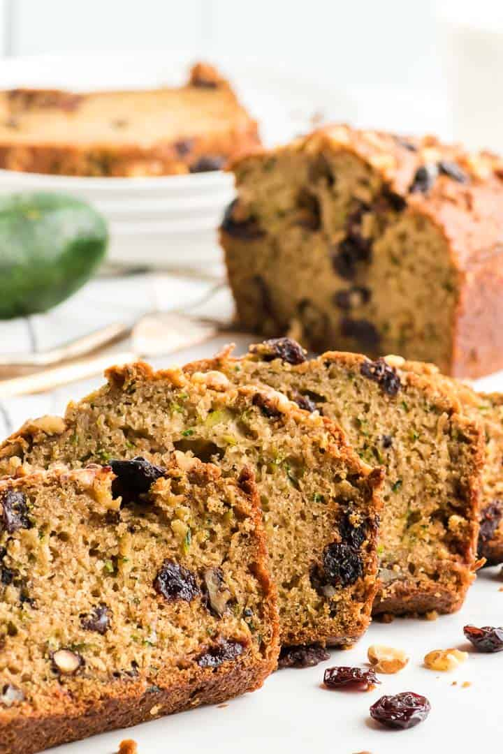 slices of freshly baked zucchini bread