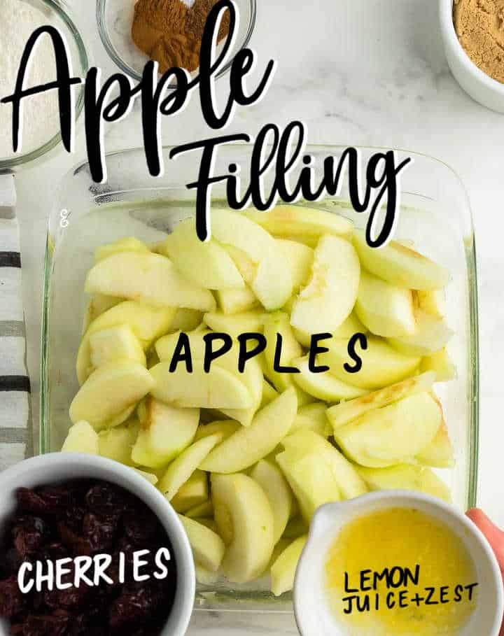 STEP - Making the apple filling with sliced apples, dried cherries, lemon juice and zest