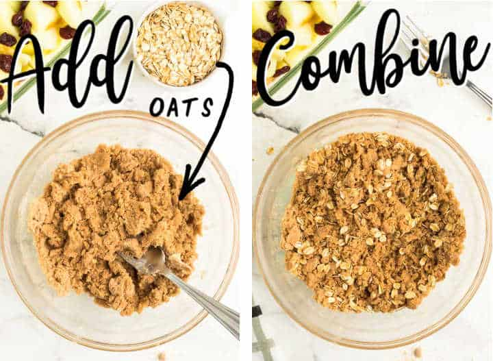 STEPS - add and combine quick cooking oats into the crumble mixture