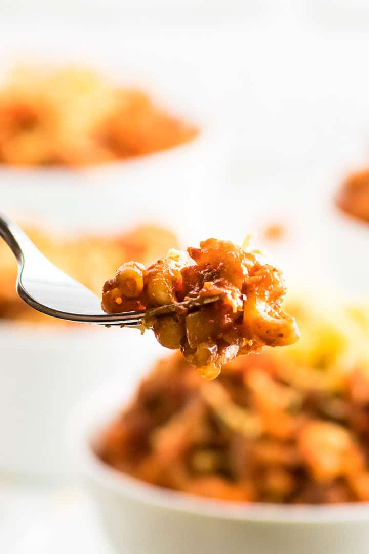 a forkful of ground beef goulash