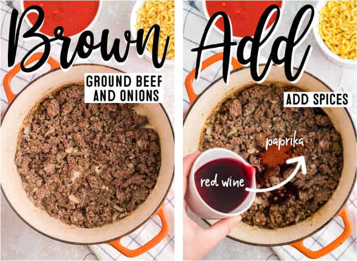 STEP: Browning the beef + STEP: Adding Spices to the cooked beef mixture