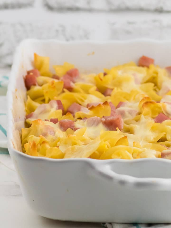 Freshly baked ham and noodle casserole in a baking dish
