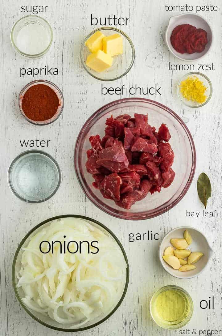 Ingredients needed to make Hungarian Goulash