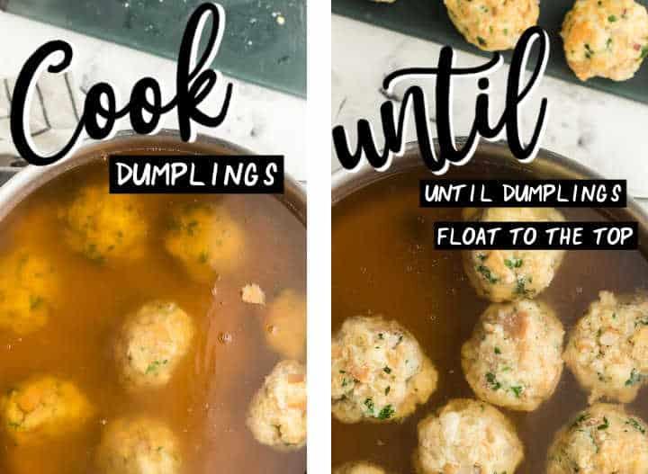 Step: Showing how to make German Knodel (dumplings)
