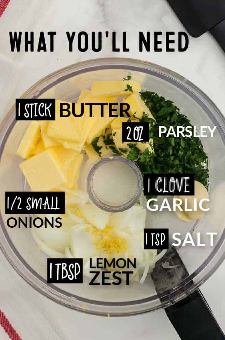 Ingredients needed to make Parsley Butter