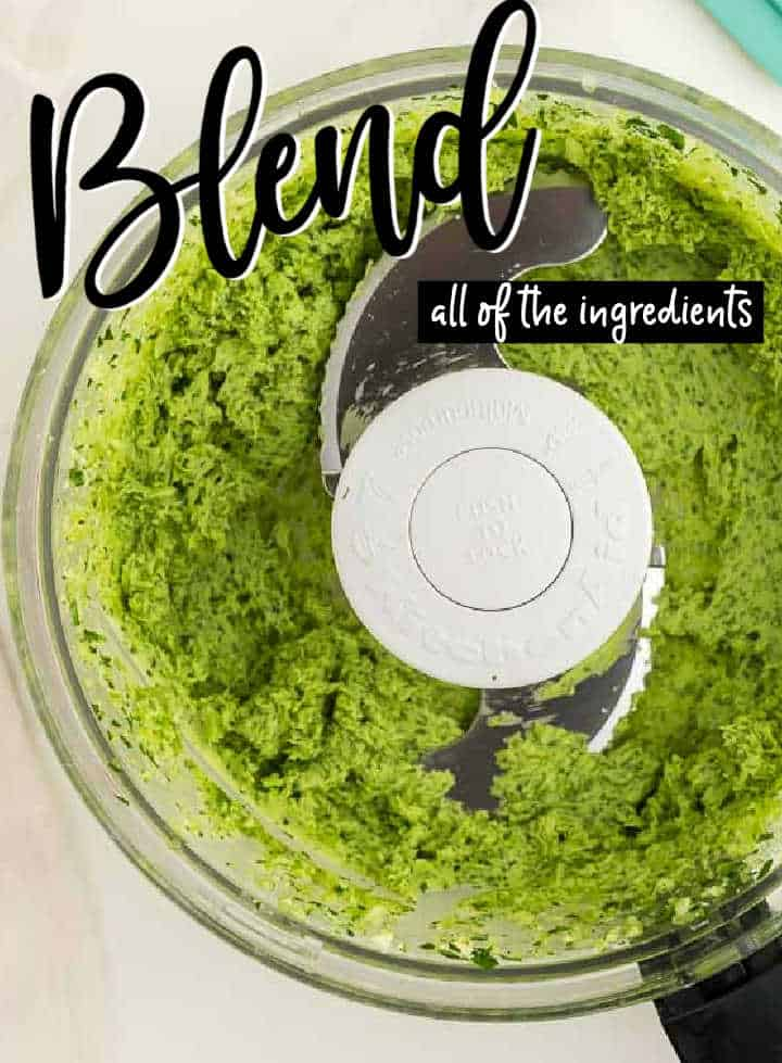 STEP: food processor with the blended ingredients for the parsley butter