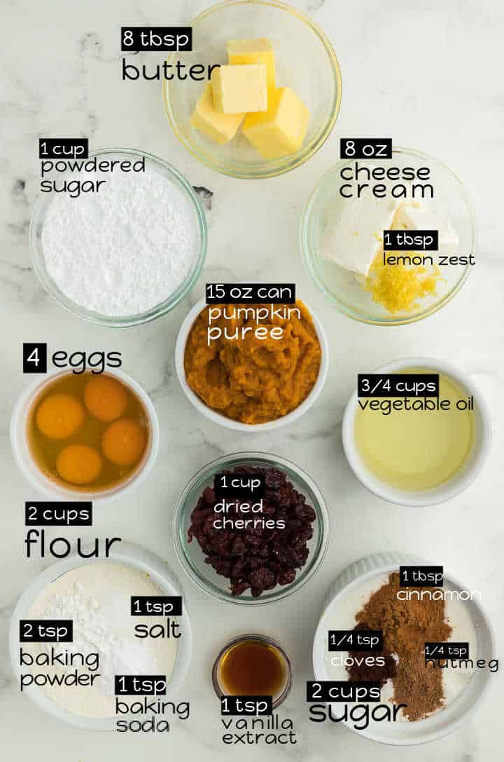 Ingredients needed to make the Yummiest Pumpkin Bars