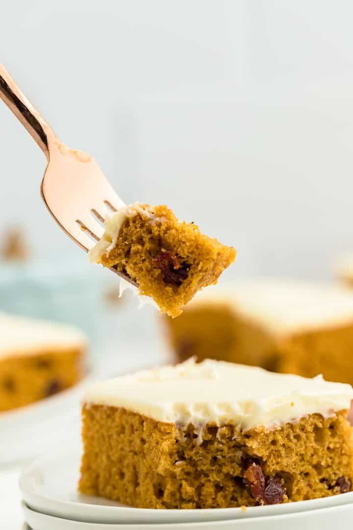 a forkful of pumpkin sheet cake