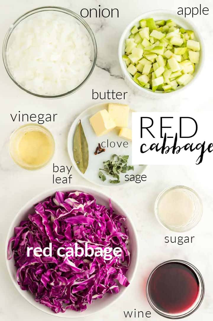 Ingredients needed to make Red Cabbage: onions, apples, cabbage, butter, sugar, vinegar, wine, bay leaf, sage, and cloves