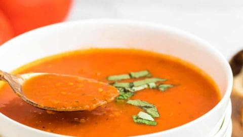 a spoonful of freshly cooked tomato soup served in a white bowl