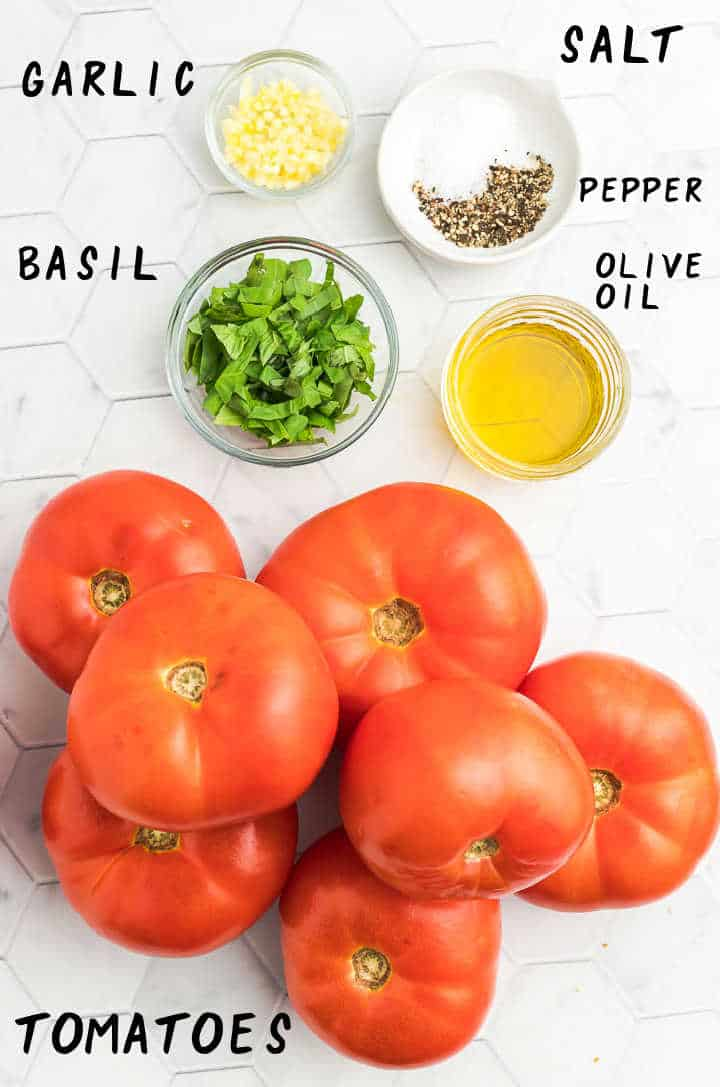 Ingredients needed to make Tomato Soup: tomatoes, olive oil, basil, salt, and pepper