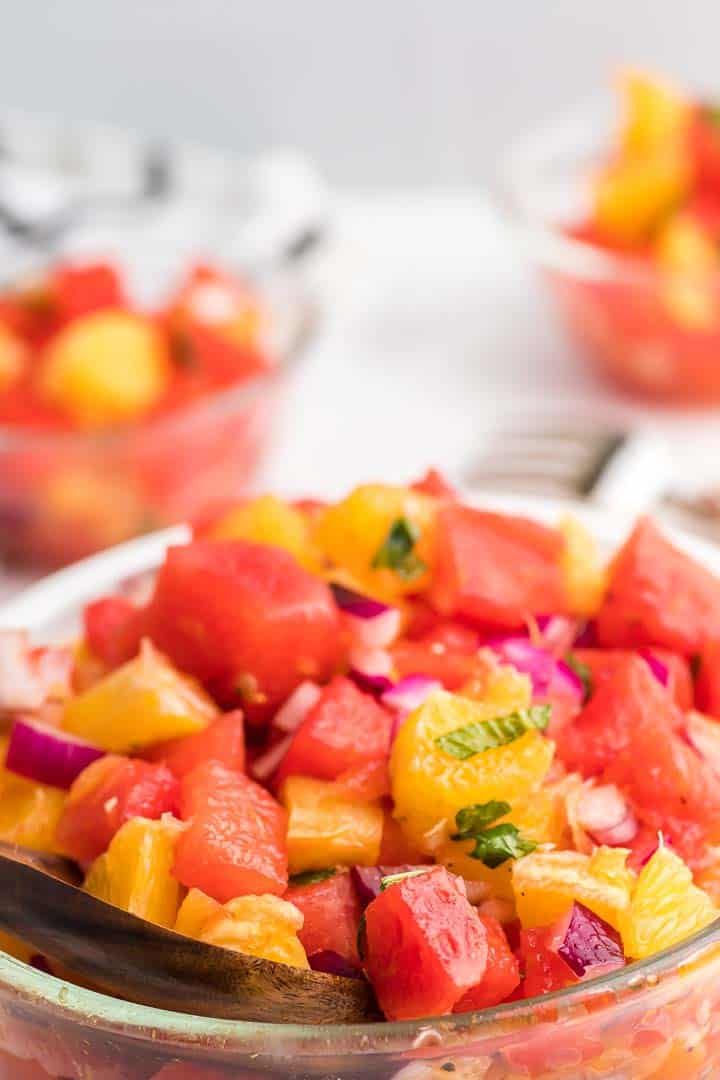 a bowl of freshly made Watermelon and Orange Salad