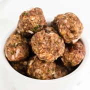 Baked Meatballs in a white bowl