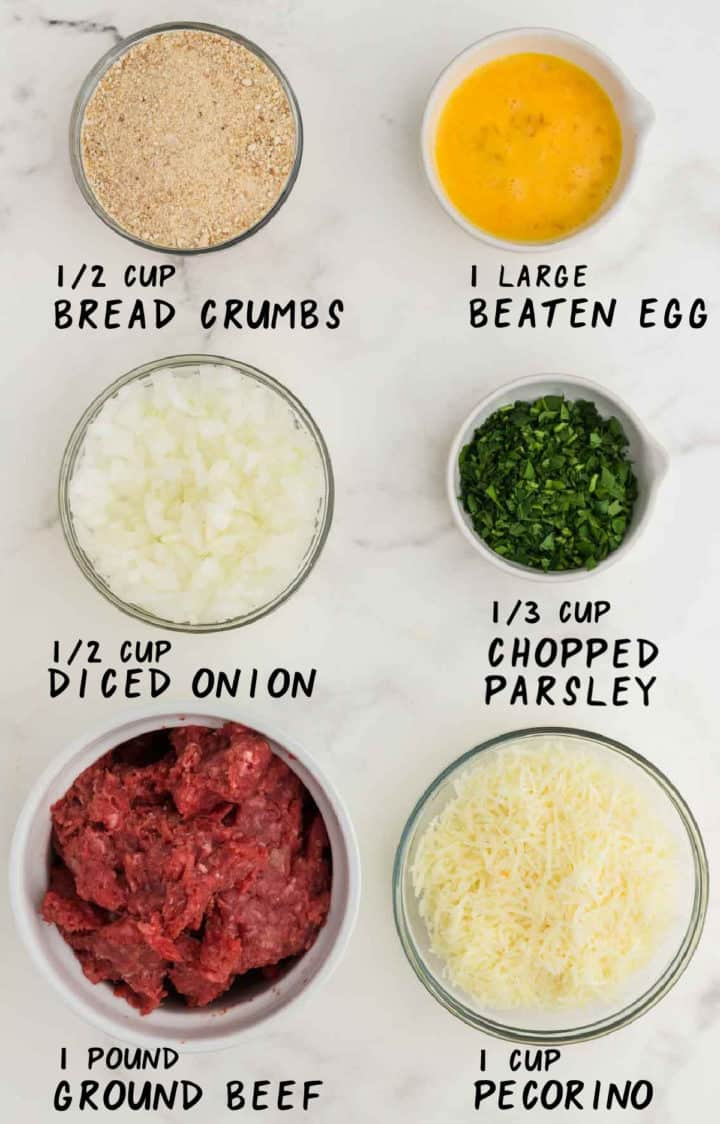 Ingredients needed to make Baked Meatballs