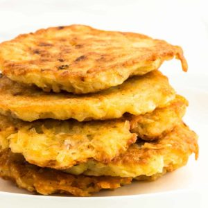 A stack of German potato pancakes (Reibekuchen)