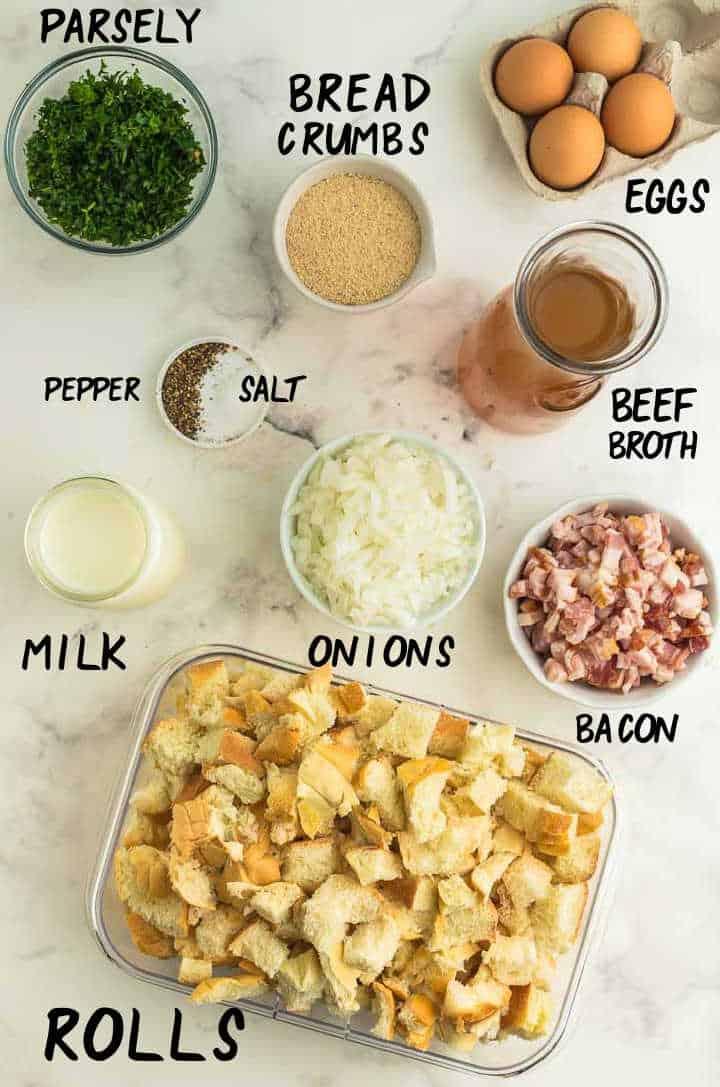 Ingredients needed to make German Knödel - Bacon Dumplings