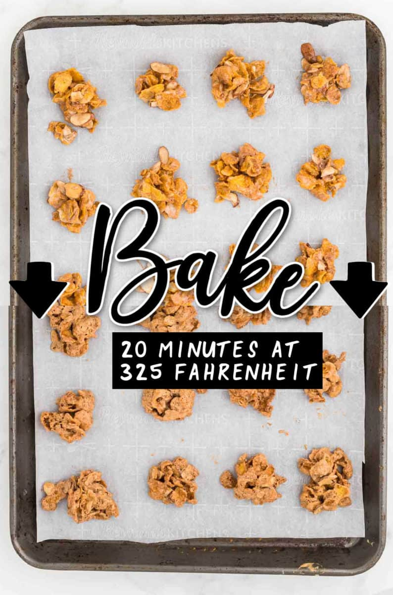 STEP: Spoon tablespoon-sized dollops of the cornflake mixture onto a lined baking sheet + STEP: Baking the cookies for 10-12 minutes at 350 degrees Fahrenheit