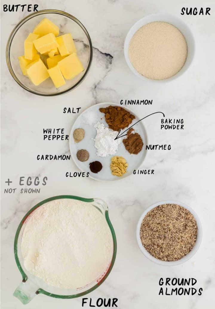 Ingredients needed to make Spekulatius (German Spiced Cookies)