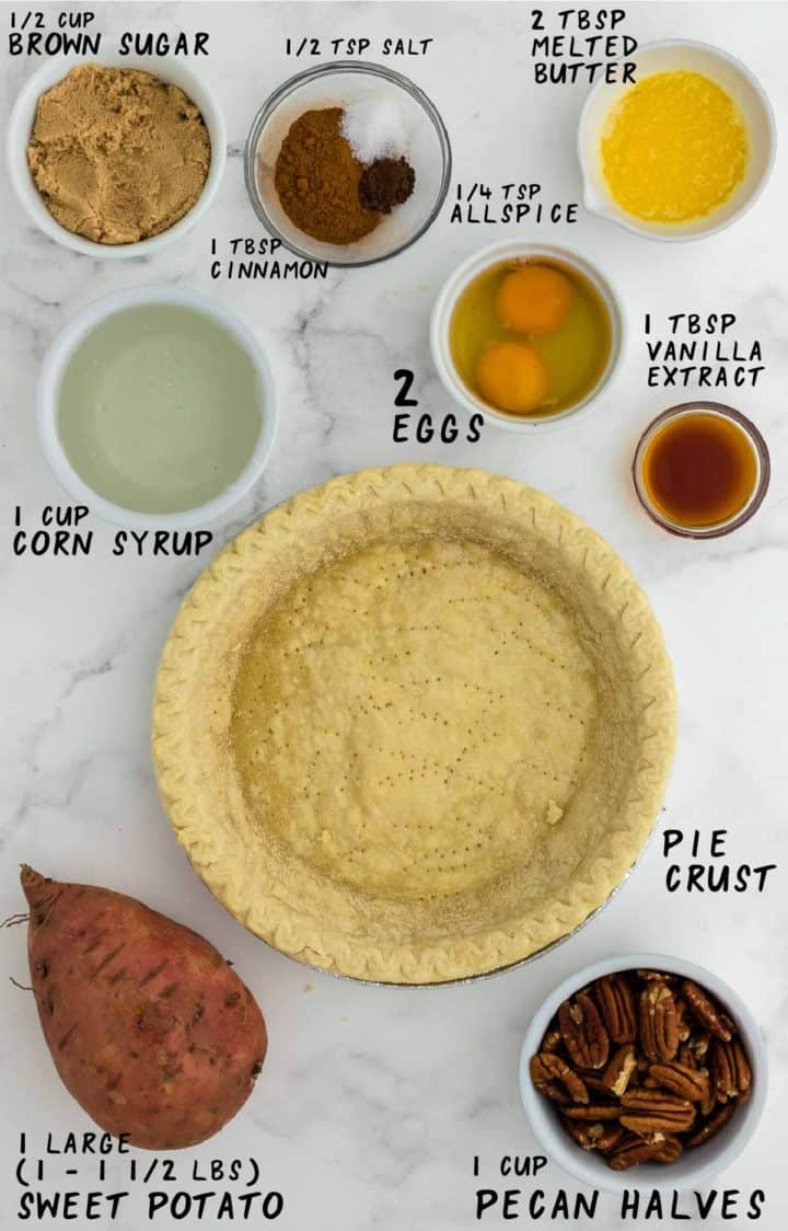 Ingredients needed to make Sweet Potato Pecan Pie