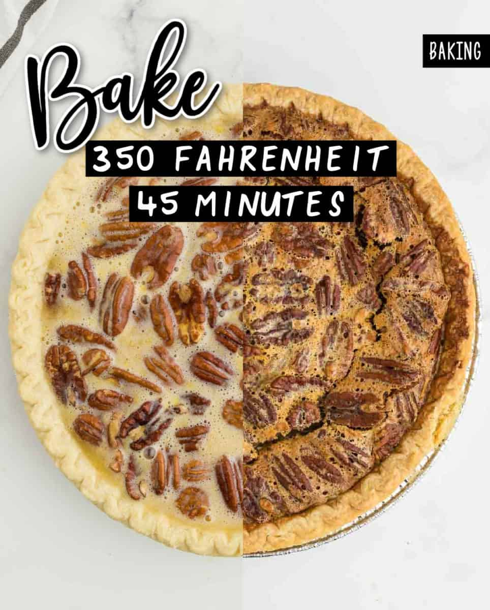 Step: Baking the pie at 350 Fahrenheit for 45 minutes