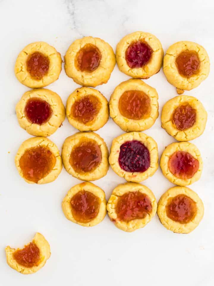 freshly baked thumbprint cookies