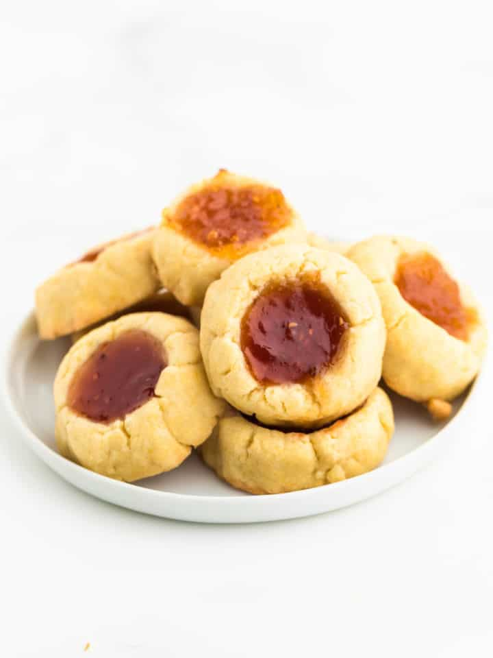 a plate of freshly baked Thumbprint Cookies