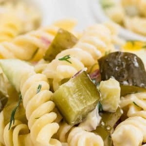 dill pickle pasta salad (close up)
