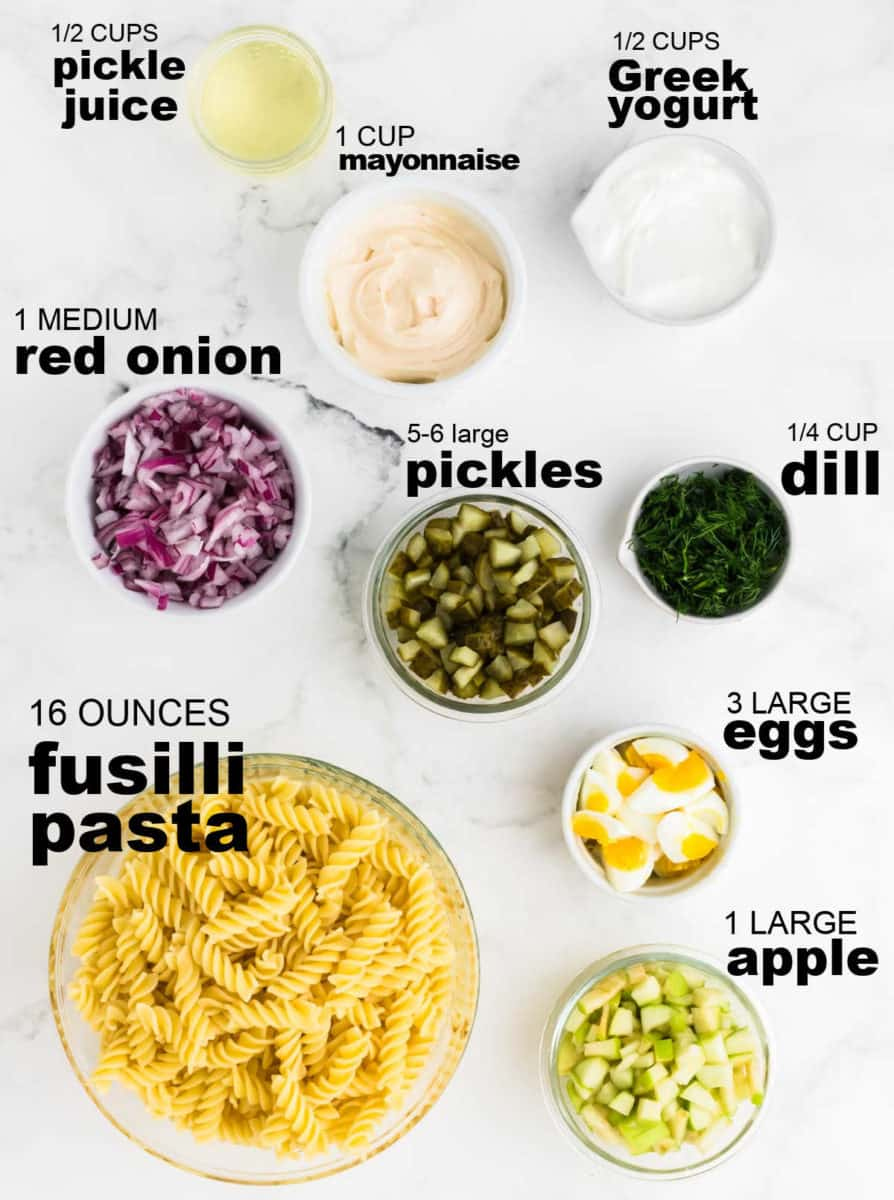 Ingredients needed to make Dill Pickle Pasta Salad