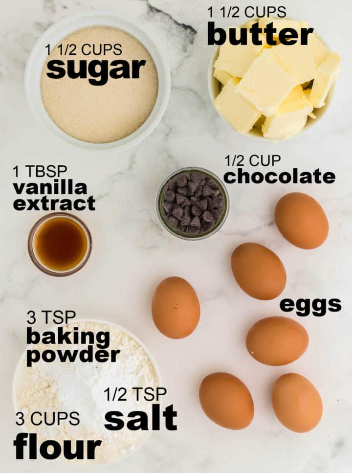 Ingredients needed to make Chocolate and Mulled Wine Pound Cake Batter
