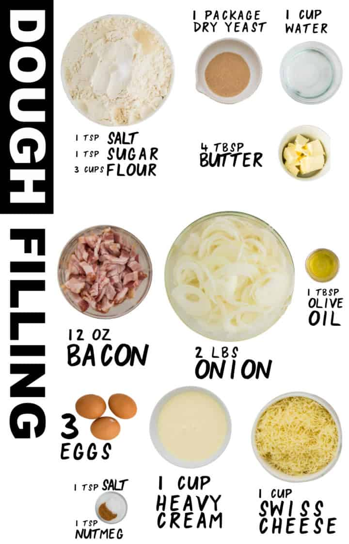 Ingredients needed to make onion pie