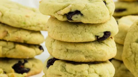 a stack of Pistachio Cookies (fresh from the oven)